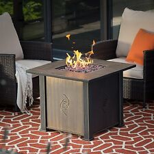 Fire Pit Table Burner Patio Deck Outdoor Fireplace Propane Rustic Steel Black
