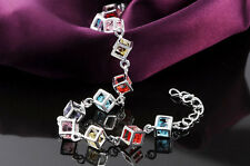 Plated Sliver MultiColour Cube Lab Diamond Pendant Bracelet Bangle jewelry