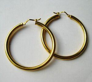 Vintage 750 18k Yellow Gold Charles Garnier Large Hoop Pierced Earrings 5g