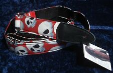 JODI HEAD GUITAR STRAP - D RING RED WITH WHITE SKULL