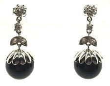 Sterling Silver Black Onyx Ball CZ Flower Bail Berry Drop Dangle Post Earrings