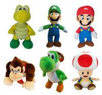 "Super Mario Kids Soft Plush Toy 9"" Mario Luigi Toad Koopa Donkey Kong Yoshi W105"