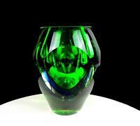 "FLAVIO DE POLI MURANO ITALY SOMMERSO ART GLASS GREEN BLUE 6 7/8"" VASE 1950'S"