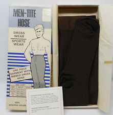 Vintage Men Tite Ribbed Dress Hose Stretch Nylon Sock Pantyhose Brown Box New