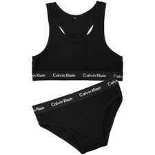 Calvin Klein Women's Modern Black Cotton Bralette and Bikini Set Size Small
