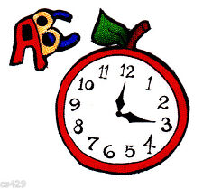 LORALIE ROLL CALL TEACHER SCHOOL ABC CLOCK FABRIC APPLIQUE IRON ON