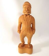 Carved Folk Art Wood Hook Hand Prosthesis Man in Workwear Signed VJ 1978 Vintage