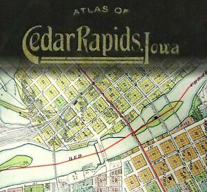 Antique 1916 City of Cedar Rapids Iowa Bound Atlas Color Plat Township Map Book