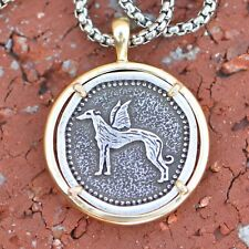 Pewter and Brass Greyhound or Whippet Angel Pendant Memory Necklace