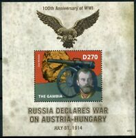 Gambia 2014 MNH WWI WW1 Russia War Austria-Hungary 1v S/S Military Stamps