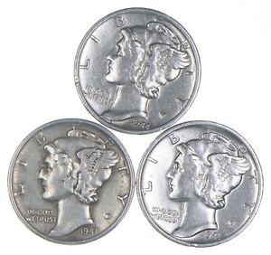 Lot of 3 AU/Unc 1944-S, 1941, 1941-S Mercury Dimes 90% Silver Collection *354