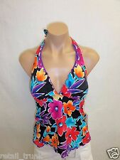 Caribbean Joe Wire-Free Floral Print Halter Tankini Top, Black Multi, 8