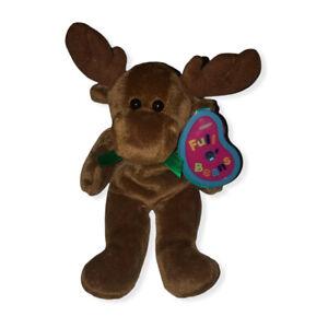 """Avon 1999 Full O' Beans 9"""" December Spruce Moose Beanbag Plush Stuffed Animal"""