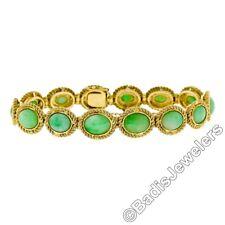 Vintage 18K Yellow Gold Oval Cabochon Jade w/ Twisted Wire Frame Link Bracelet