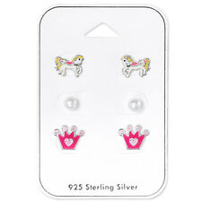 Sterling Silver 925 Set of Stud Earrings - Pink Pony, Crown, Pearl Bead