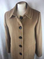 Preston & York Women's Size 10 M Pea Coat Tan Brown 80% Wool Buttons