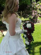 Exclusiver Brautstrauss bordeaux und creme Rosen, mit Bling, Hochzeit, neu