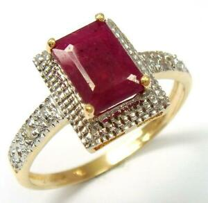 SYJEWELLERY FINE 9CT YELLOW GOLD NATURAL OCTAGON RUBY & DIAMOND RING SIZE N R977
