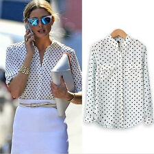 Women Camisas Polka Dot Printing Tops White Blouse Long Sleeve Casual Shirt JR
