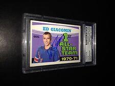 Ed Giacomin Signed 1971-72 OPC New York Rangers Card PSA Slabbed #83476201