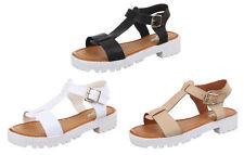 Normale-Weite-(E) Damen-Sandalen & -Badeschuhe mit Blockabsatz aus Kunstleder für Mittlerer Absatz (3-5 cm)