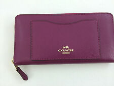 New Authentic Coach F54007 Accordion CrossgrainLeather Zip Around Wallet Fuchsia