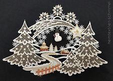 PLAUENER SPITZE ® Fensterbild WINTER Weihnachten SCHNEEMANN Winterlandschaft
