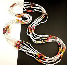 1 Cream Multi Strand Mixed Colour Wood Beaded Statement Necklace - # 439