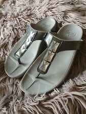 Grey Fit Flops With Big Diamante Detailing Size 7