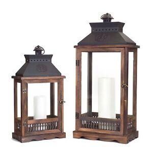 """Lanterns (Set of 2) 21""""H, 27.5""""H Wood/Metal/Glass"""