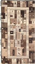 Wool Carpet Muted Tones Handmade Rug 3' x 6' Contemporary Style