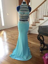 Jovani 2 piece prom gown dress #81120 size 2 turquoise blue skirt, beaded top