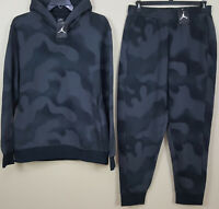 NIKE JORDAN 5 P51 FLEECE SWEATSUIT HOODIE + PANTS CAMO BLACK GREY NEW (SIZE 3XL)