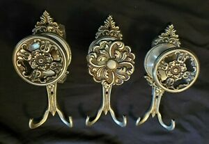 Ornate Wall Hooks Cast Iron for Coat Hat (LARGE) Heavy Duty (lot of 3)