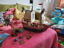 LARGE PLAYMOBIL PIRATE SHIP 5135  and island set 4139 WITH LOTS OF EXTRAS VGC