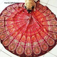 Indian Maroon Mandala Round Beach Throw Tapestry Cotton Yoga Mat Roundie Decor