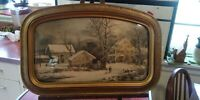 Vintage Framed Currier & Ives  Print Winter in the Country Convex Glass