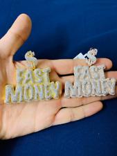 14k Gold Finish Fast Money Hip Hop Simulated Diamond Charm Pendant w/ Rope Chain