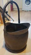 Vintage Brass Coal Scuttle Hinges Ceramic Handle Helmet Fire Side Wood Logs