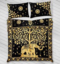 Queen Size Duvet Cover With 2 Pillow Case Art Yellow Color Elephant Tree Bedding