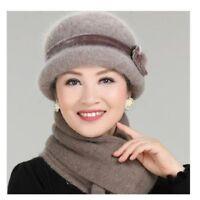 Women Winter Hat And Scarf Set Wool Rabbit Fur Warm Floral Knitted Headwear