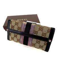 Gucci Wallet Purse Long Wallet GG Beige Black Woman Authentic Used Y4835