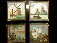 4 Dutch Delft Porceleyne Fles Cloisonne Display Tiles