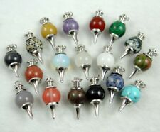 40*18Natural Gem Pendulum Pointed Reiki Chakra Pendant Charm Necklace