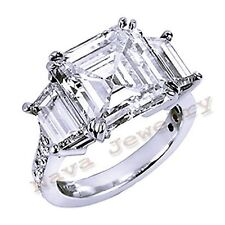 3.12 Ct ASSCHER CUT 3-STONE DIAMOND ENGAGEMENT RING