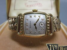 Bulova Gold Plated Vintage Wristwatch With Original Box Excellent Condition