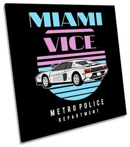 Miami Vice Car Ferrari Picture CANVAS WALL ART Square Print