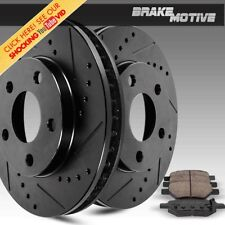 REAR BLACK DRILLED SLOT BRAKE ROTORS & CERAMIC PADS Chrysler Dodge 4x4 4WD 2WD