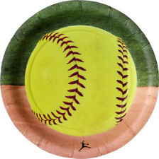 """Fastpitch Softball Party 7"""" Paper Plates - Set of 8 - Girl's Birthday"""