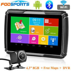 4.3'' Android Navigation Motorcycle Car GPS Navigator WIFI + HD DVR + Free Maps